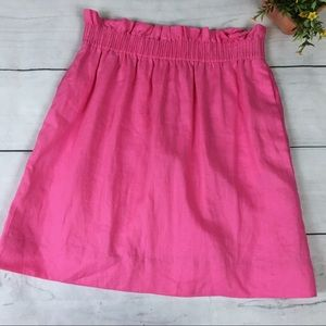 NWT J. Crew City Mini Linen Skirt in Neon Pink